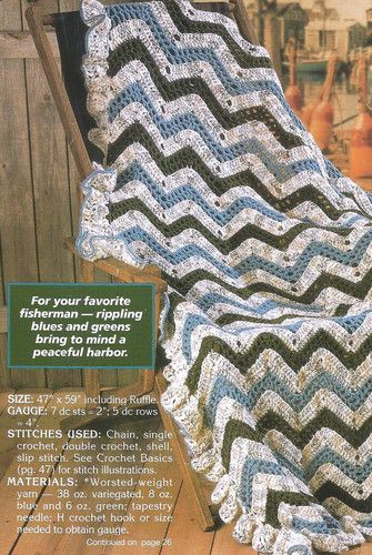 Crochet Patterns Wave Afghan : Crochet Pattern for a RIPPLING WAVES AFGHAN