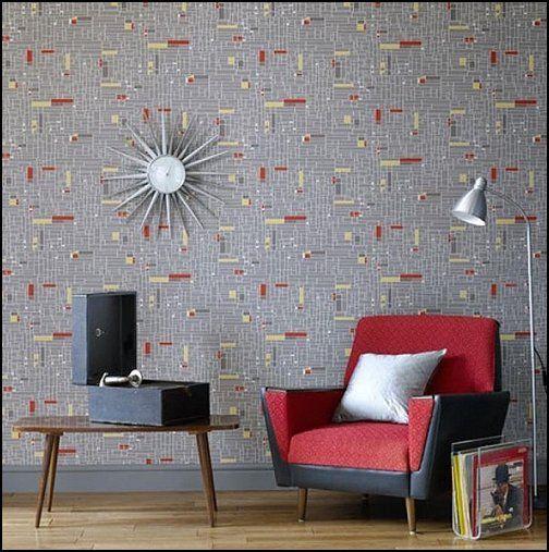 mid century modern retro vintage wallpaper