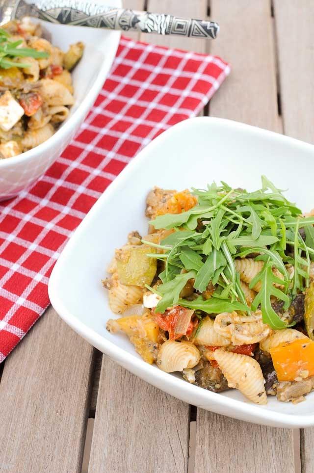 Roast Vegetable Pasta Salad with Feta, Rocket & Pomegranate Dressing ...