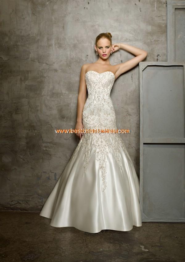 Robe de mariée sirène pas cher satin broderies