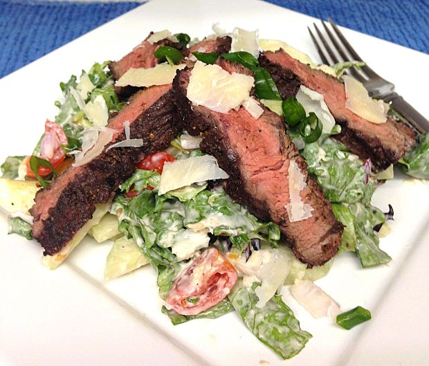 ... steak salad with horseradish dressing That's a salad any man can enjoy