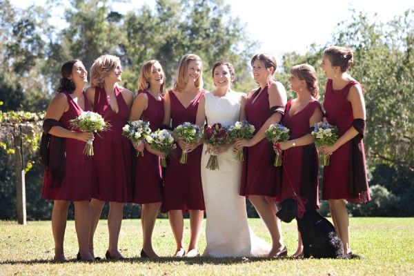 Burgundy bridesmaids' dresses.