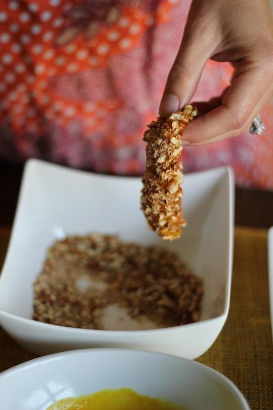 Chicken strips dipped in honey musturd and pretzel: Chicken strips ...