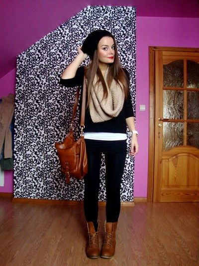 black beanie, tan circle scarf, black sweater, brown bag and combat boots, black skinnies