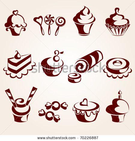 stock vector : Sweet pastry set   Sellos e ilustraciones   Pinterest