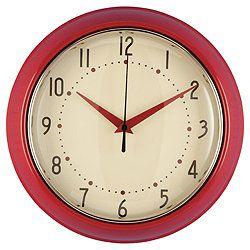 Retro Clock Red Kitchen Pinterest