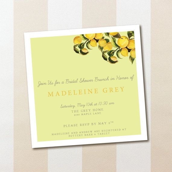 Lemon Bridal Shower Invitation PDF (Buy 1 PDF, print as many as you ...
