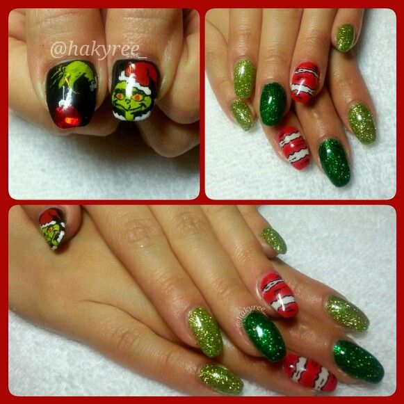 Hand painted Mr. Grinch gel nails ♥ Follow me on Instagram @hakyree_