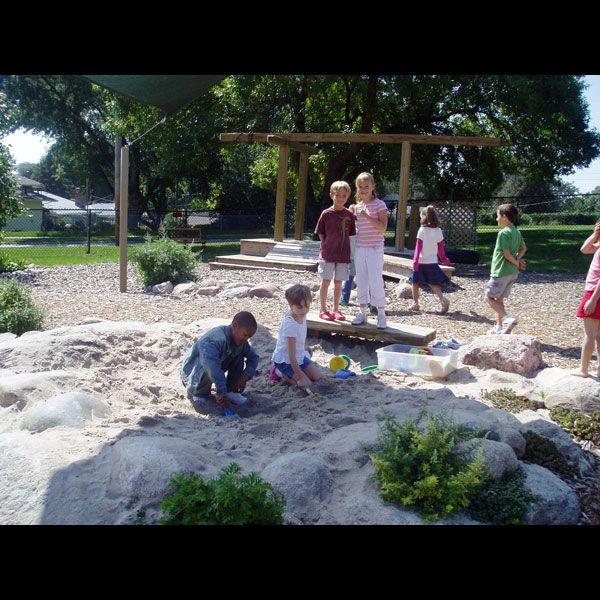 Backyard Daycare Omaha : Shaded natural sandbox  Montessori Outdoor Environment  Pinterest