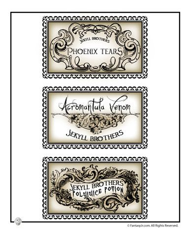 Harry Potter Potions Labels Printable