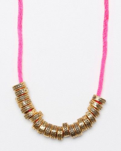 Vanessa Mooney gold on pink necklace (could be a DIY)