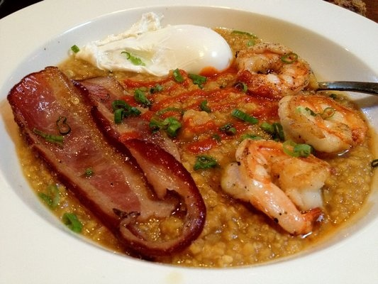 Chubby Grits w/ Gulf Prawns, Bacon & Poached Egg ($11)