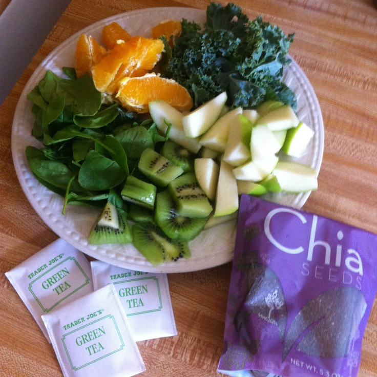 with baby spinach, kale, orange, green apple, kiwi, soaked chia seeds ...