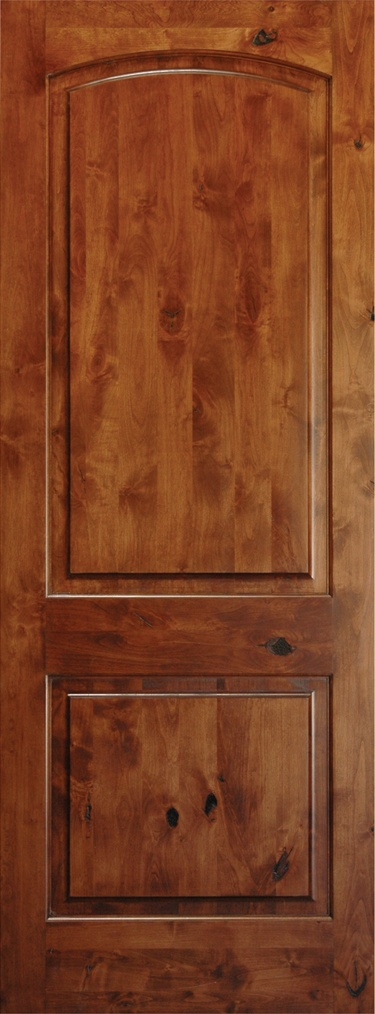 Interior arch top knotty alder wood door barn doors for Knotty alder wood doors