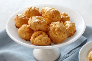 Cheddar-Chive Gougères recipe 1 cup water 1/4 cup butter Dash ground ...