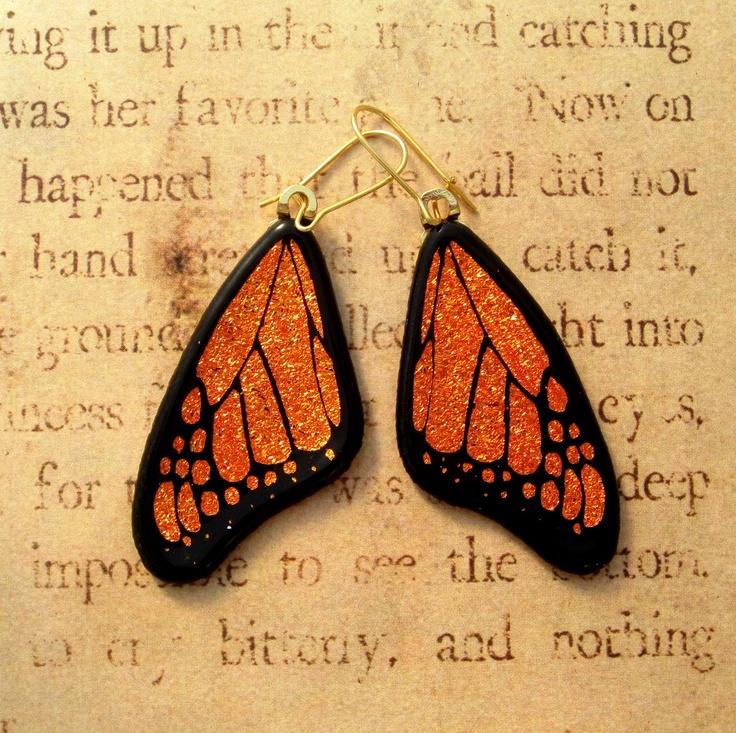 new beats pro Monarch Butterfly Wing Fused Glass Earrings Large