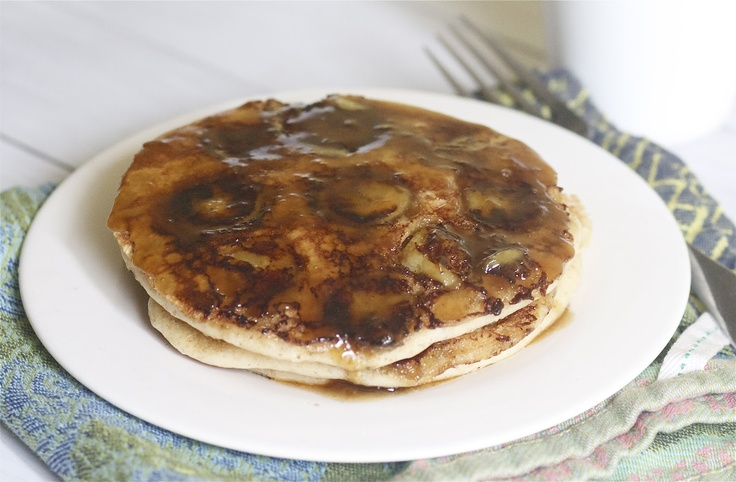 ... this for breakfast this AM! Bananas Foster Pancakes | The Baker Chick