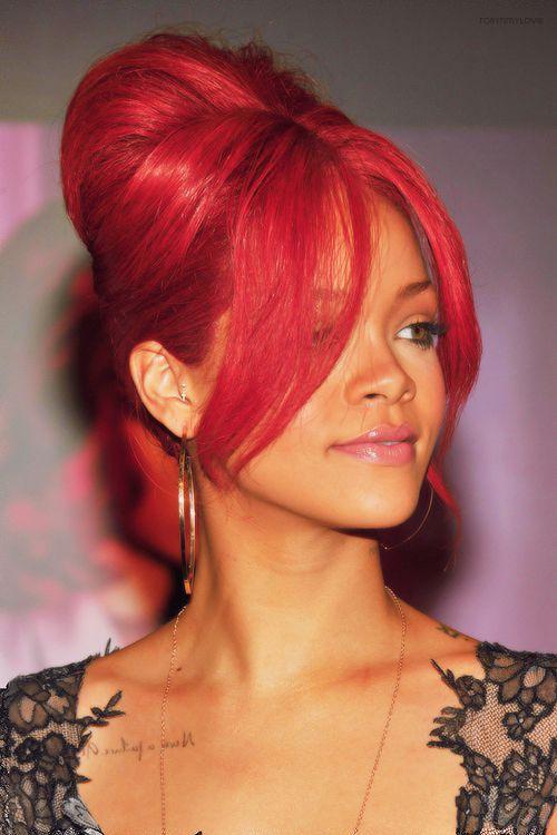 rihanna red hairstyles : Rihanna red hair beehive updo