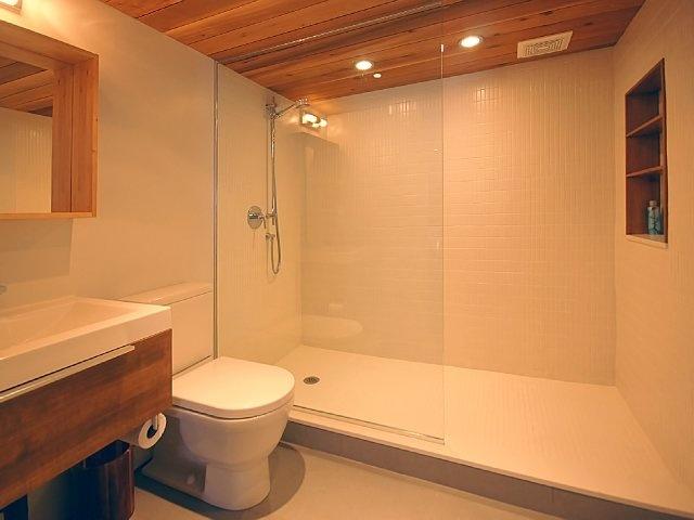 Salle de bain sous sol albanel bathroom wood ceiling - Salle de bain sous sol ...