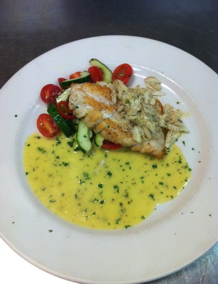 Pan seared yellowedge grouper with jumbo lump crab meat  grape tomatoe    Yellowedge Grouper Recipe