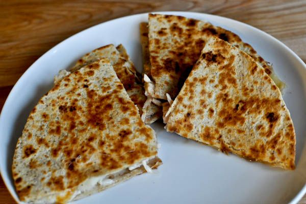 Turkey, brie, and cranberry quesadillas (I made mine with chicken ...