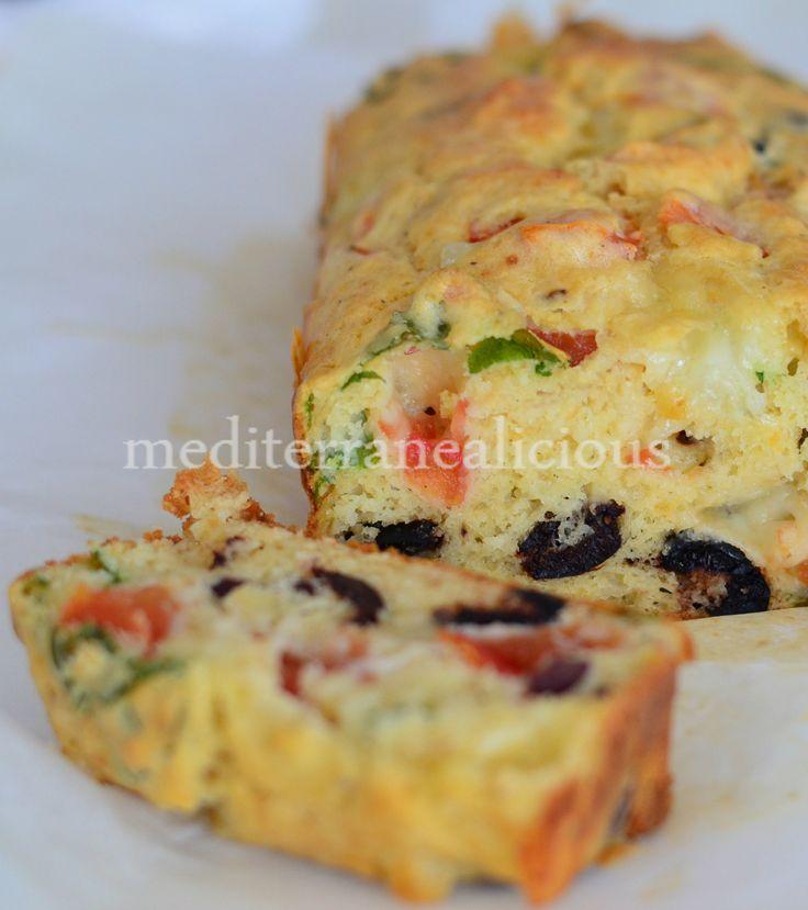 Tomato, mozzarella, olive and basil cake | Breads | Pinterest
