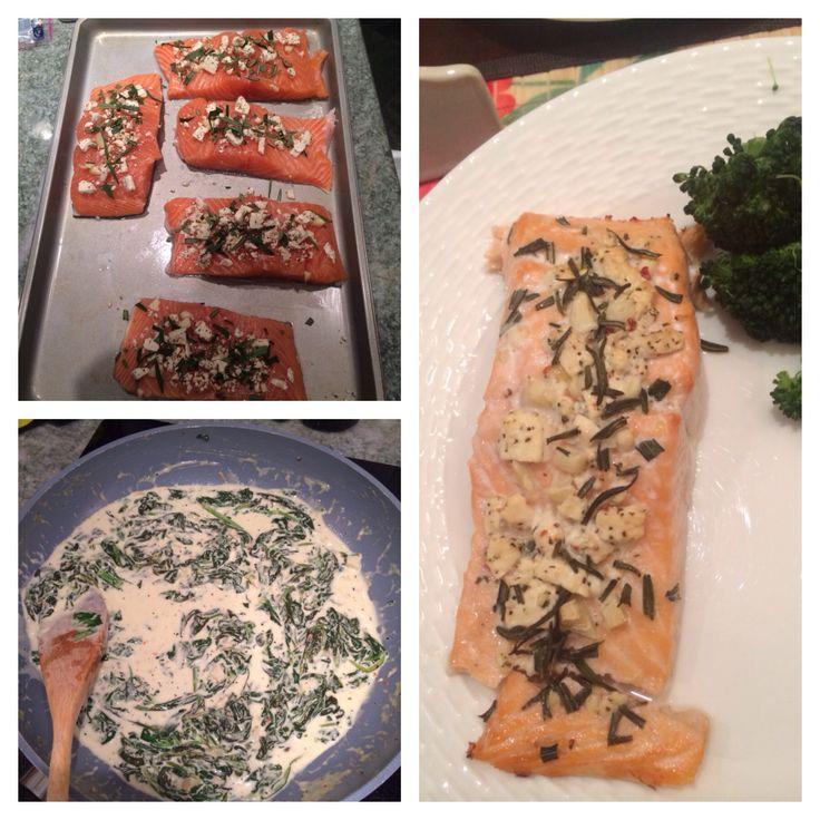Garlic, feta, rosemary salmon in tomato/basil feta and spinach cream ...