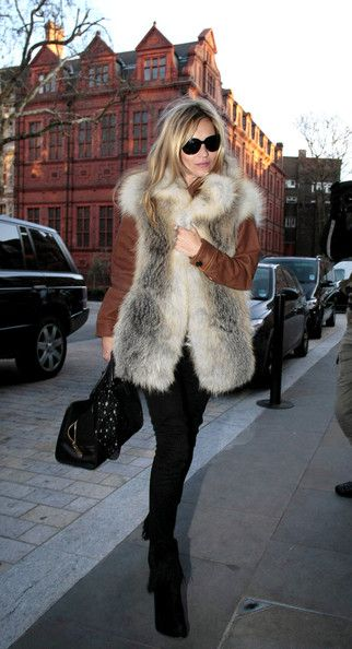 Kate Moss #winter #layering #fur vest #katemoss