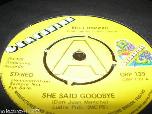 Billy Hambric She Said Goodbye I Found True Love