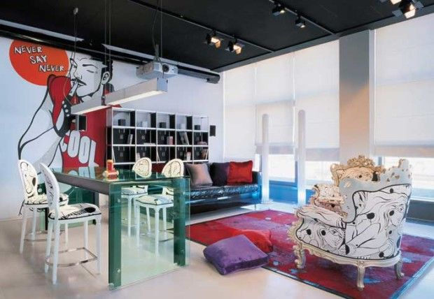 Living Room In Pop Art Style Interior Exterior