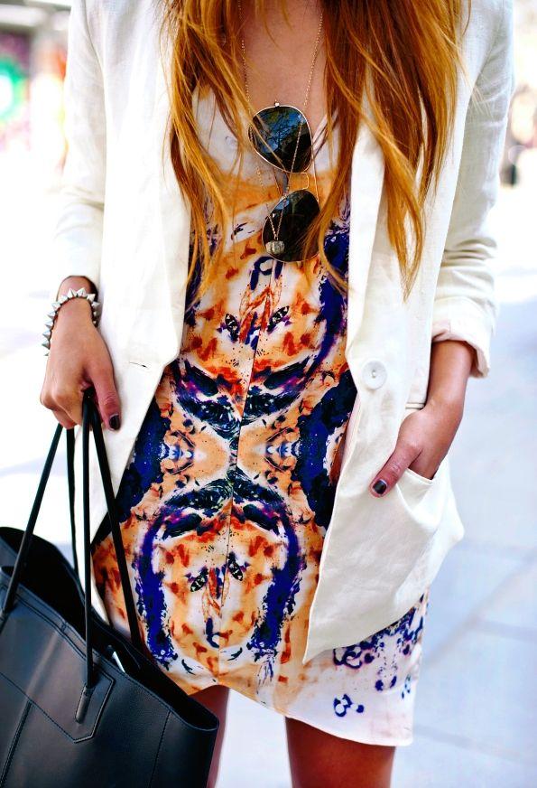 printed dress + white blazer + aviators