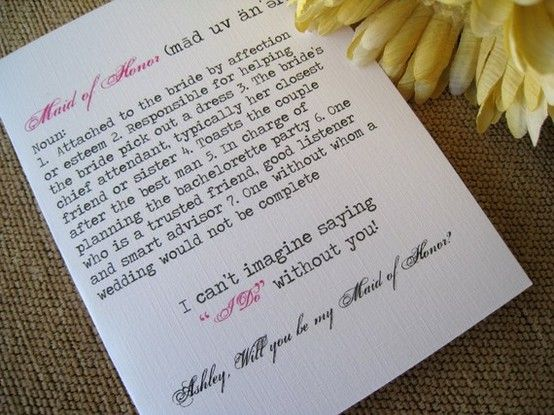 maid of honor letter Wedding Pinterest