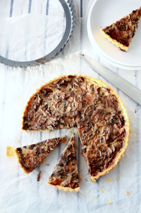 Mushroom Tart with Mascarpone, Gruyere & Parmesan. YUM! And I would ...