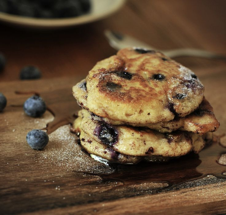 Blueberry Lemon Yogurt Pancakes - Made them! Yum yum yum! Followed the ...