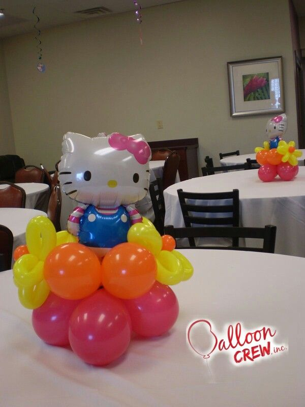Hello kitty centerpiece balloon decorations pinterest
