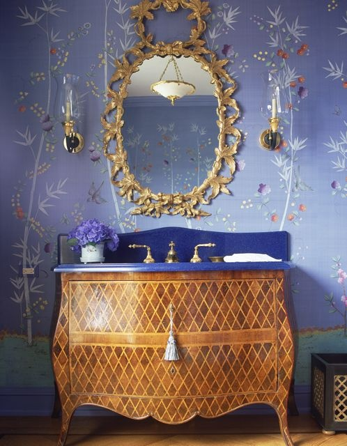 Inlaid chest, mirror, wallpaper ( swap out blue counter  , ) Decorating Portfolio 38 - Charlotte Moss