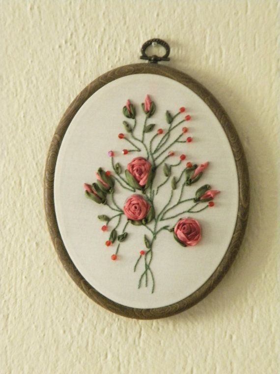 Hand Embroidery Salmon Roses Wall Hanging With BeadsWall Art