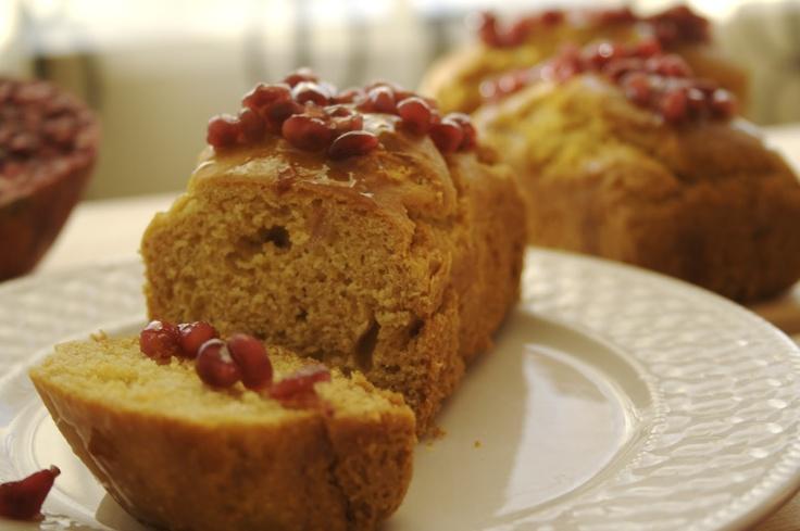 Orange Cornmeal Cakes with Sticky Pomegranate (Gluten-Free)