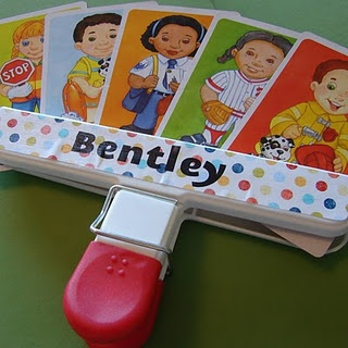Kid card holder for family game night. SO cute :)