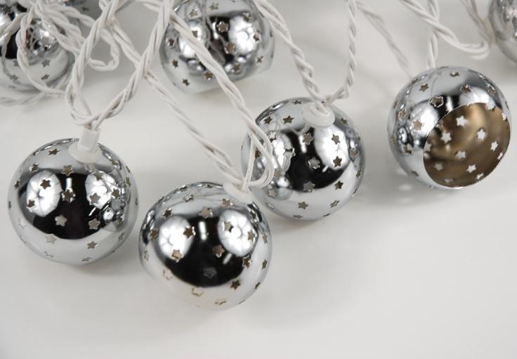 Starry Night Lights 10 Silver Metal Globes Lights Plug In String Lights (9.5 ) USD 13