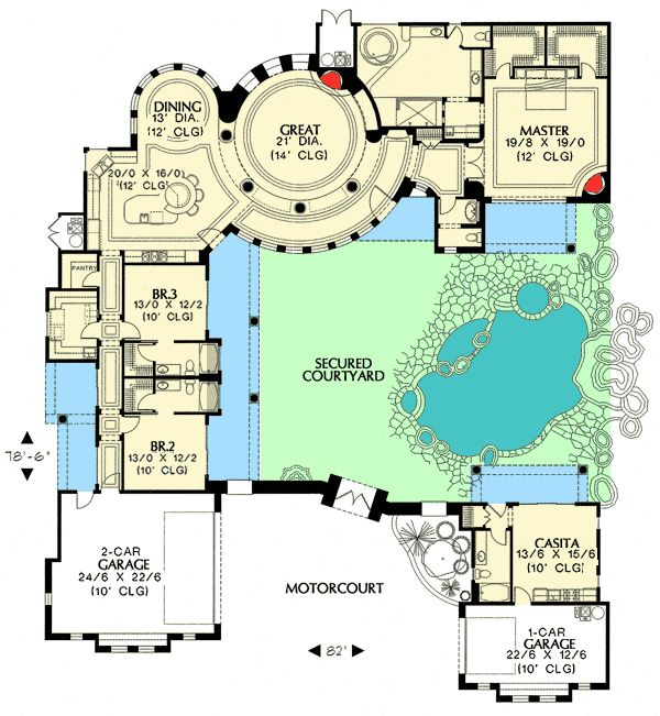 Courtyard plan with guest casita for Casita plans for homes
