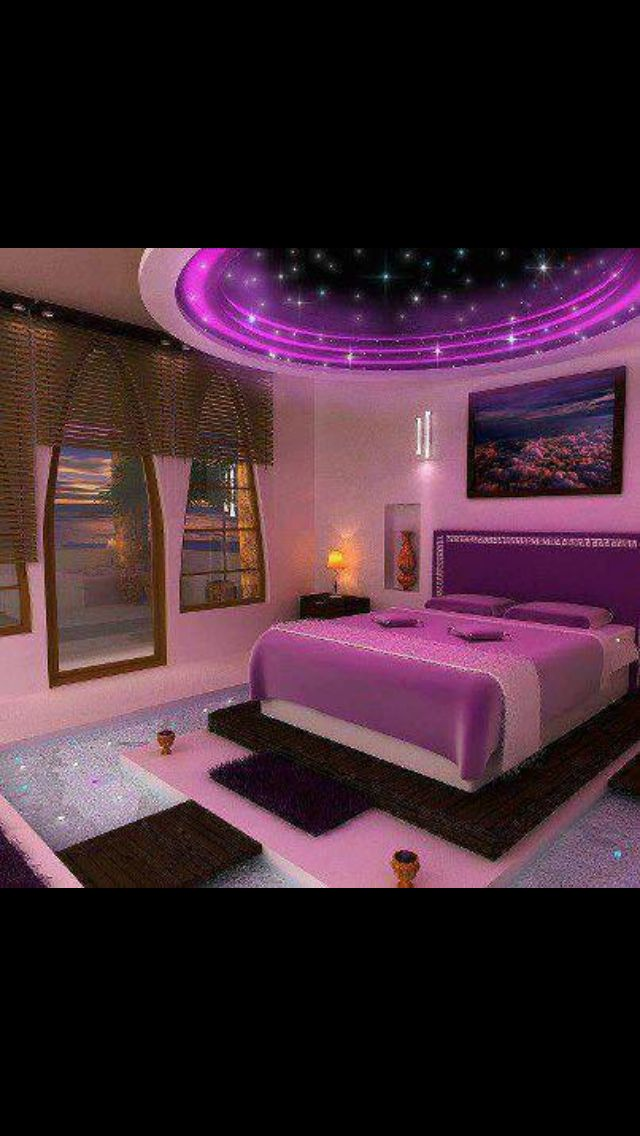Purple bedroom!! comfy beds Pinterest