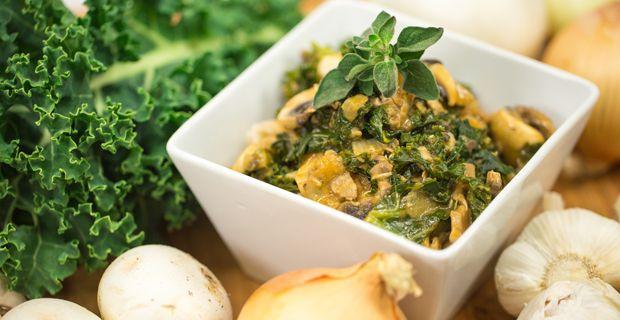 Kale and Mushroom Stroganoff - Vegan