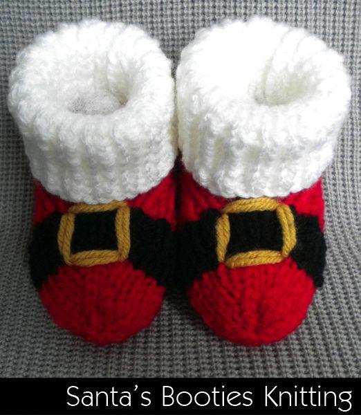 Crochet Baby Santa Booties Pattern : Santa Baby Booties Knitting Pattern Baby Knits Pinterest