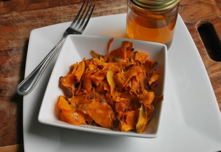 Parmesan Honey Sweet Potato Chips: Made with a vegetable peeler! Salty ...