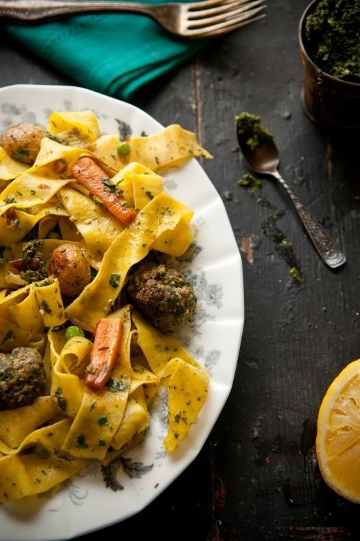 ... ROASTED VEGETABLE PAPPARDELLE WITH CARROT TOP PESTO AND MEATBALLS
