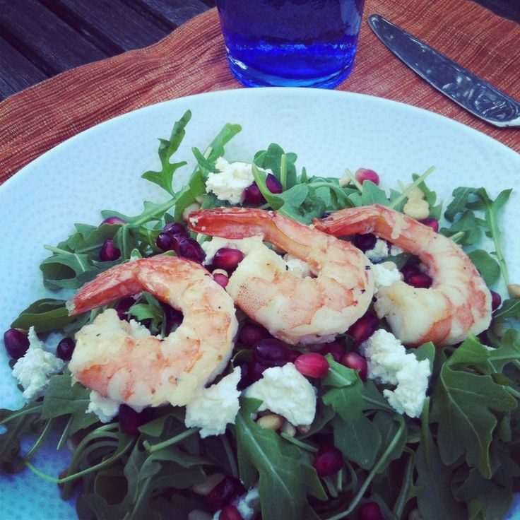 Arugula Salad topped with Grilled Shrimp, Pomegranate, Goat Cheese ...