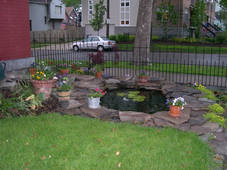 Pin by log home designer on ponds pinterest for Front yard fish pond