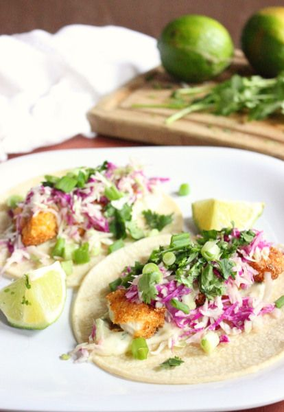 Cilantro lime sauce on fish tacos | Mmmmmm | Pinterest