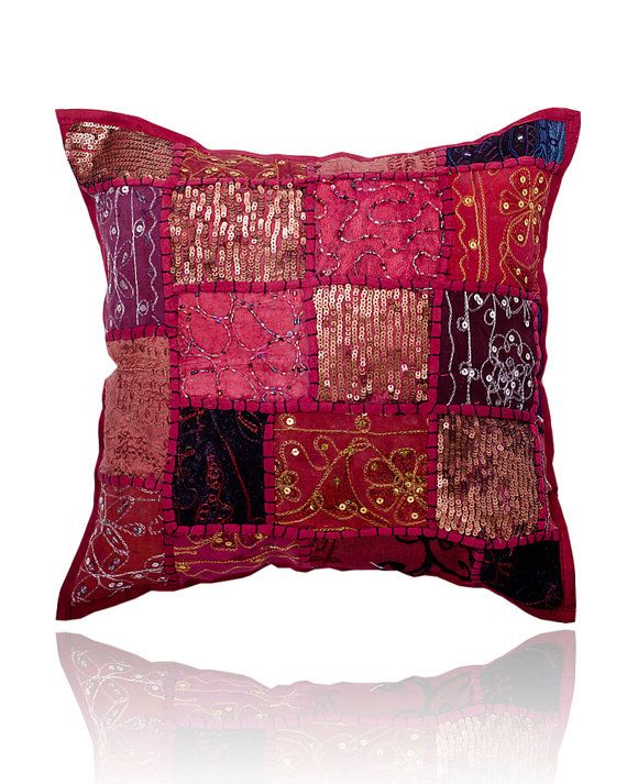 Throw Pillows Maroon : Maroon Gypsy Throw Pillow for Couch, Decorative Accent Pillow, Patchw?